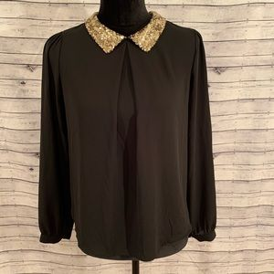Forever 21 Flowy Blouse with Sparkle Collar